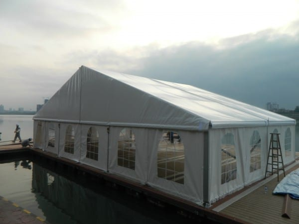 Outdoor tent with part time staff working