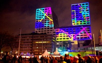 Projection mapping on a building as an event trend