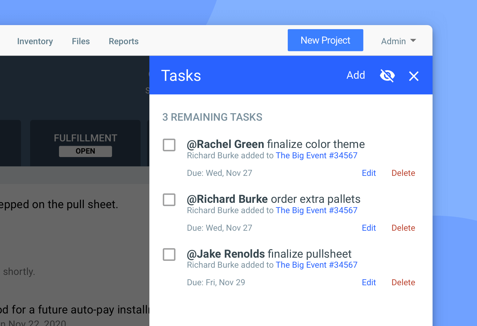 Task management in Goodshuffle Pro, event rental management software