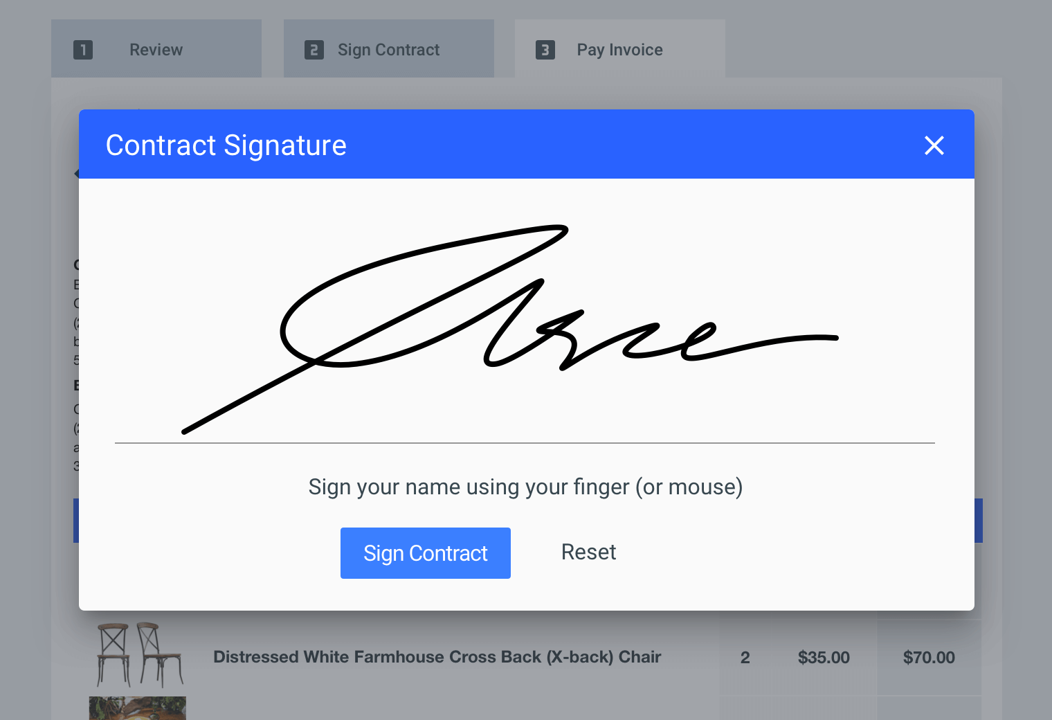 Online client signature in Goodshuffle Pro, inventory management software for event companies
