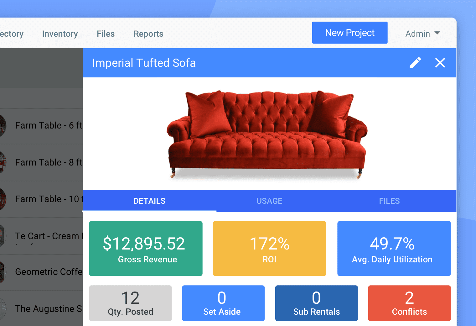 Inventory tracking in Goodshuffle Pro, event rental management software