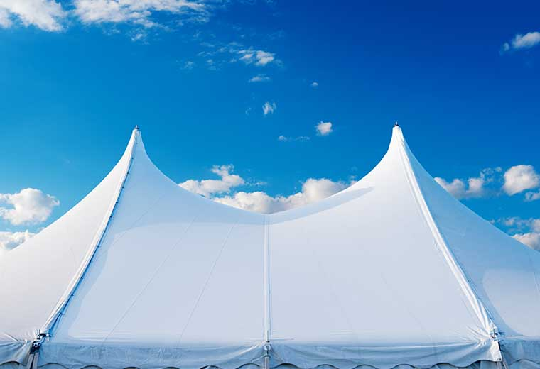 Outdoor event with tent