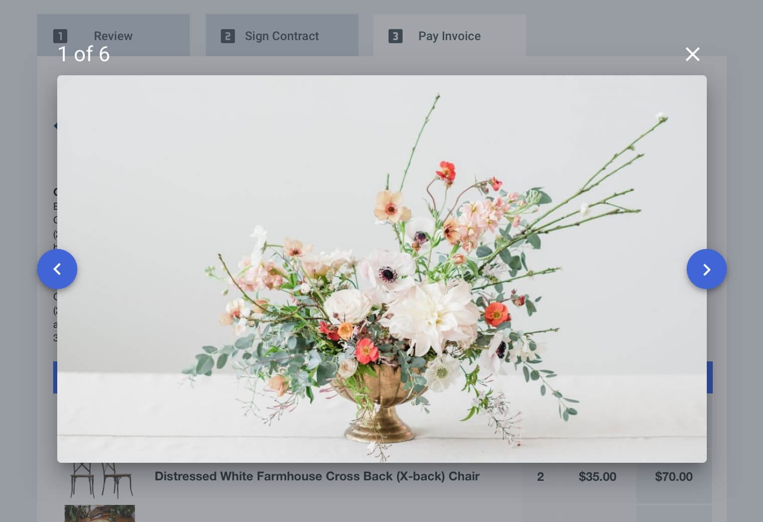 Client view of a contract for a floral company in Goodshuffle Pro