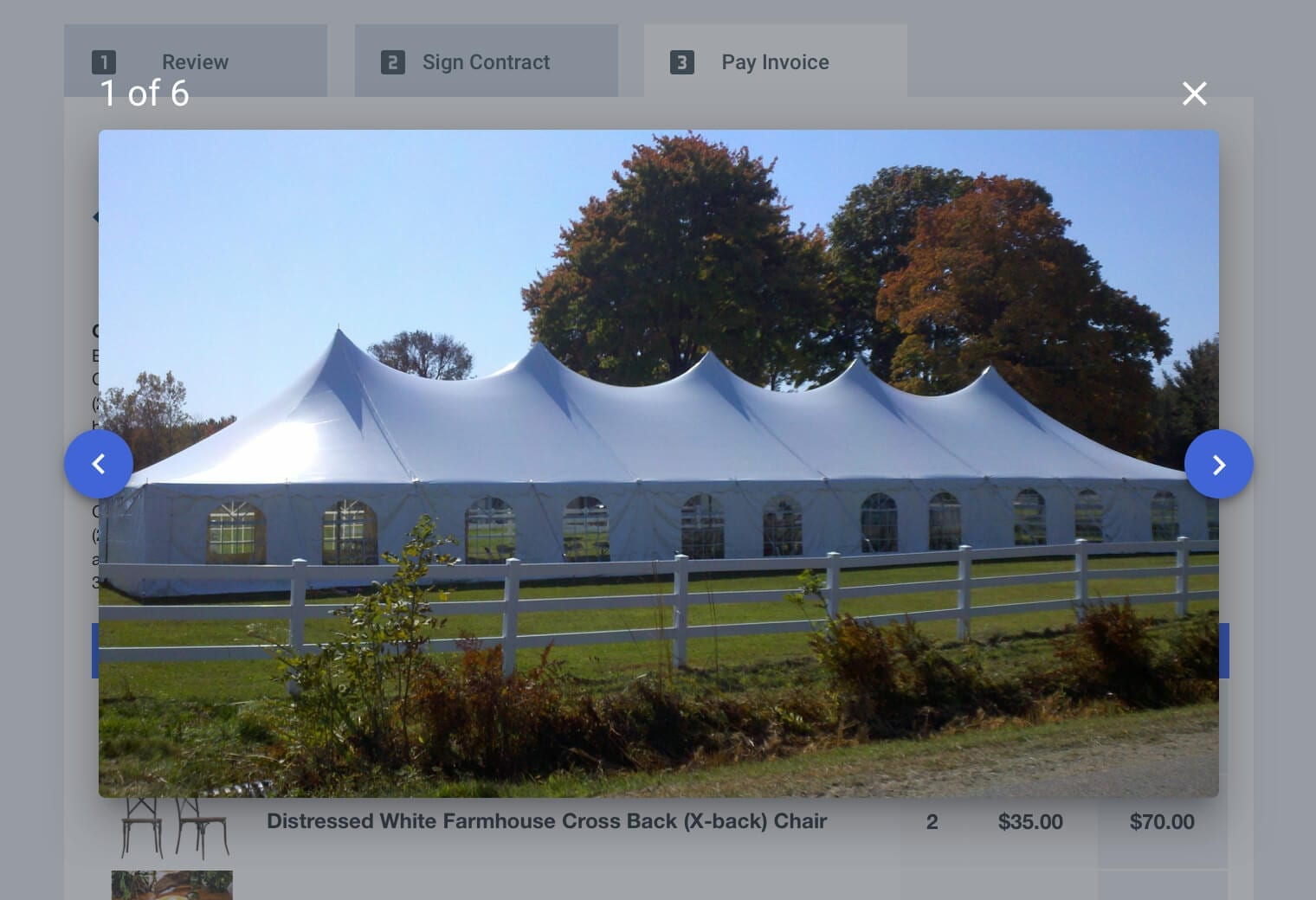 Client view of a tent contract in Goodshuffle Pro, a rental management software
