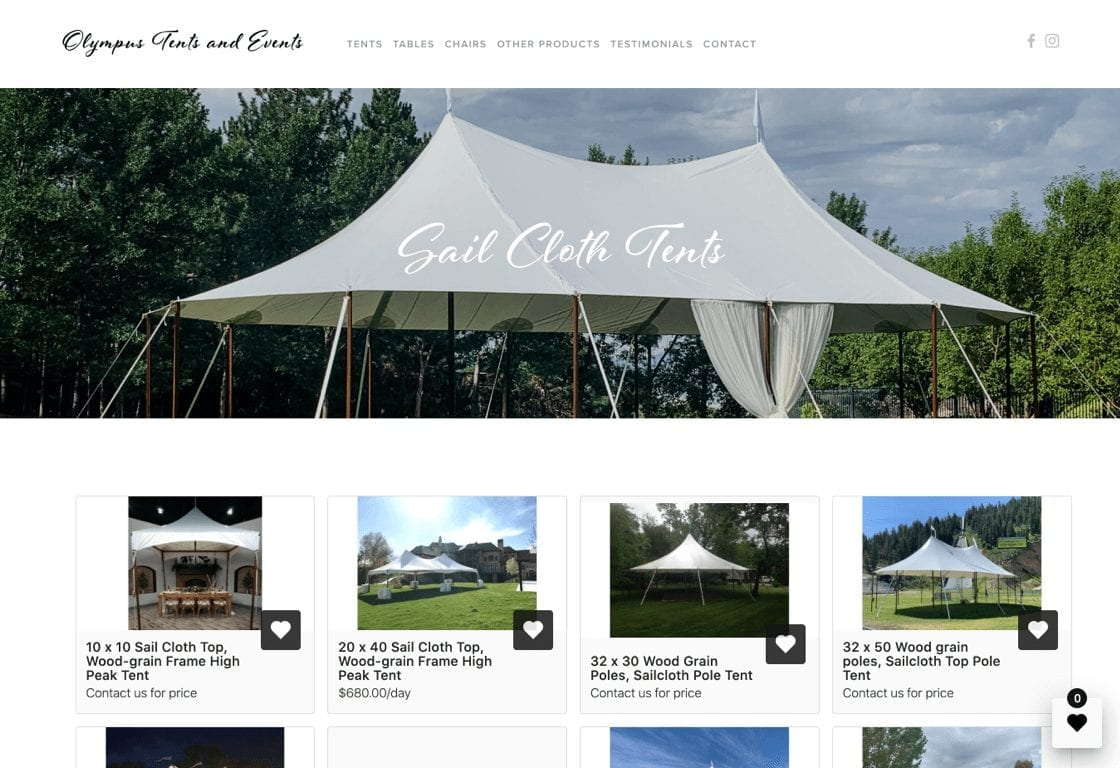 Screenshot of website wishlist of Olympus Tents and Events, a Goodshuffle Pro user