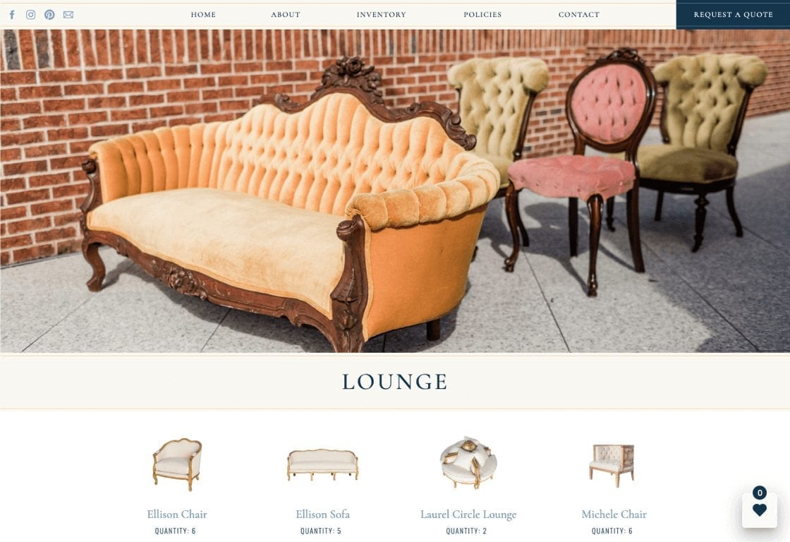 Website Wishlist integration on Savannah Vintage Rentals website through Goodshuffle Pro