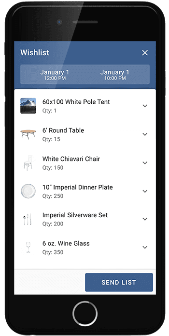 Website Wishlist on mobile for Olympus Event Rentals through Goodshuffle Pro