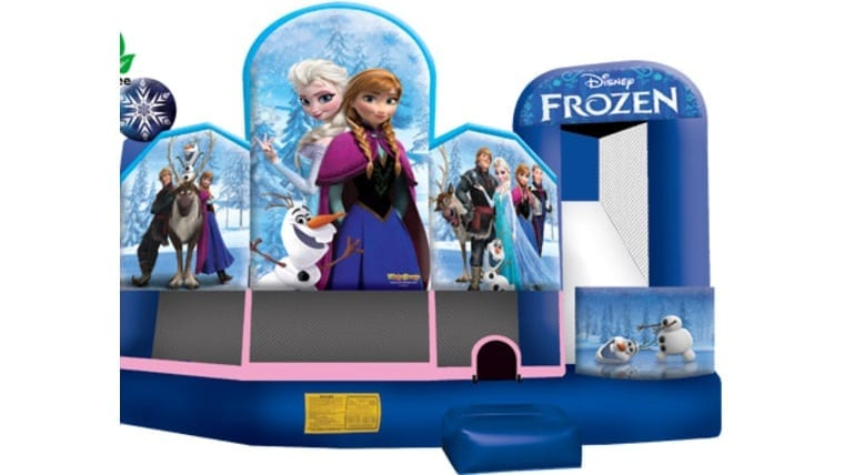 Frozen themed moon bounce/bounce house for a girl's birthday party