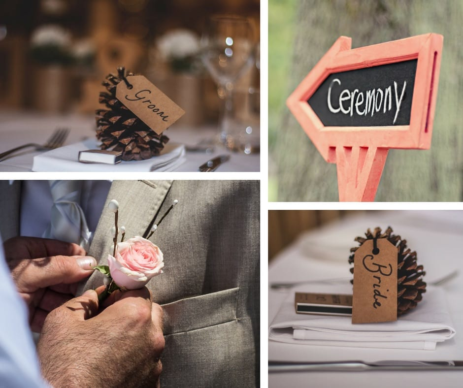 DIY do it yourself wedding decor, table numbers, and signage.