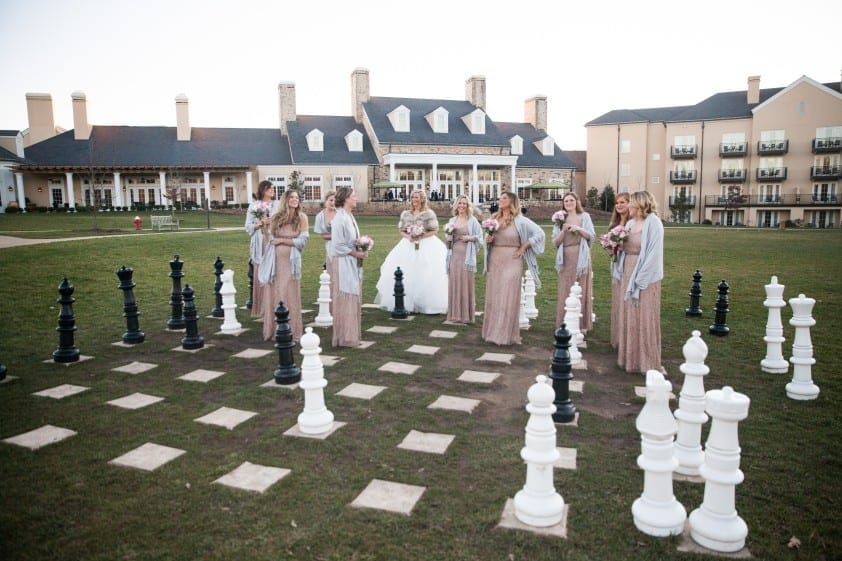 Wedding event rentals and games for outdoor event, giant chess game