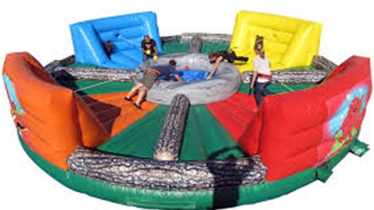 hungry hungry hippos inflatable moon bounce game