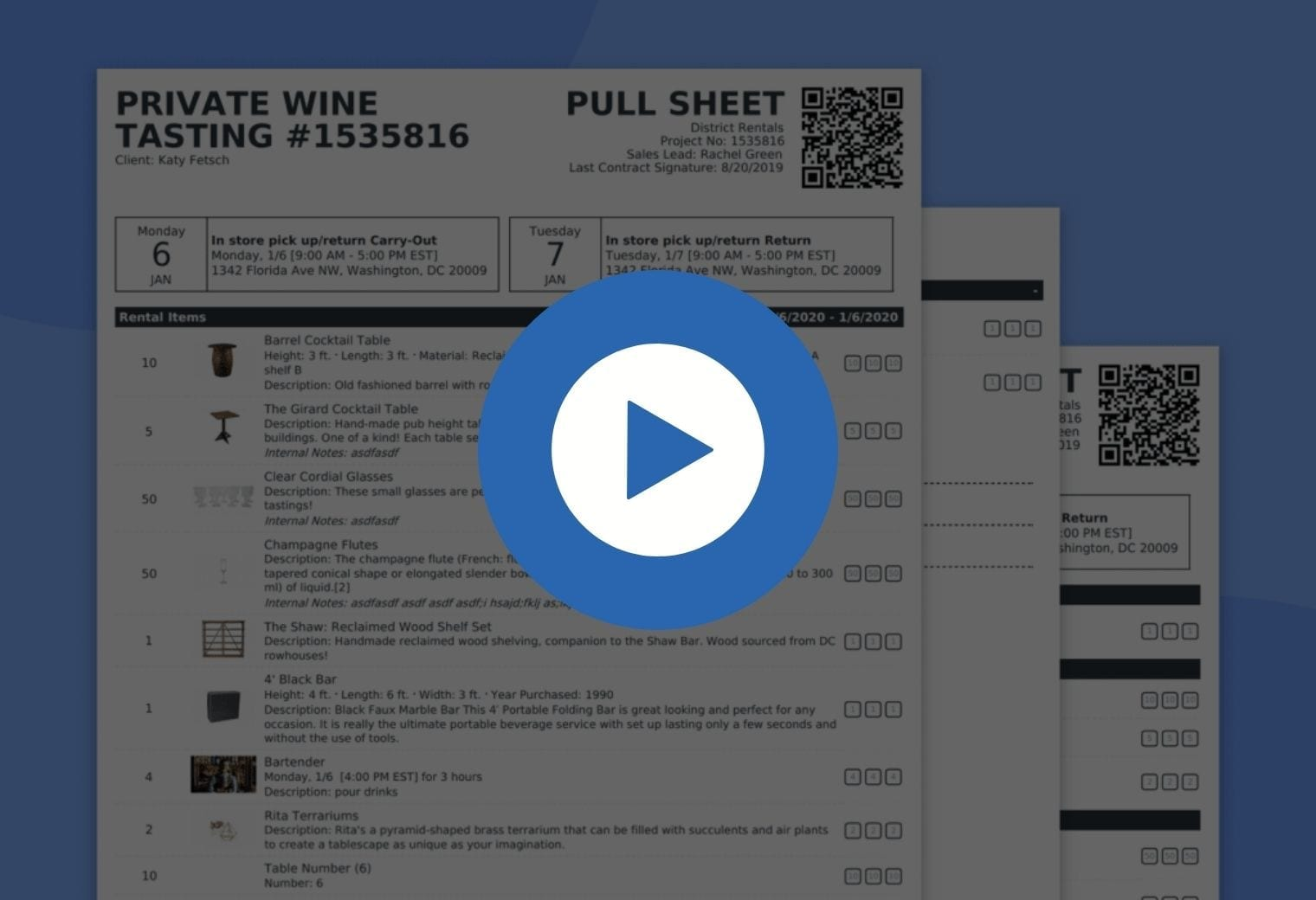 Automated pullsheet in Goodshuffle Pro, inventory management software